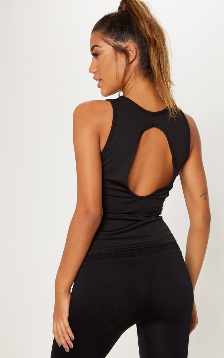 Black Open Back Gym Vest Top 1