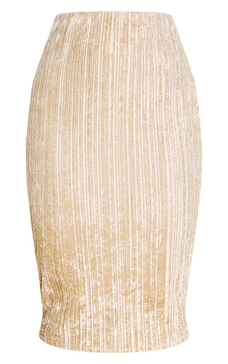 Champagne Crushed Ribbed Midi Skirt 3