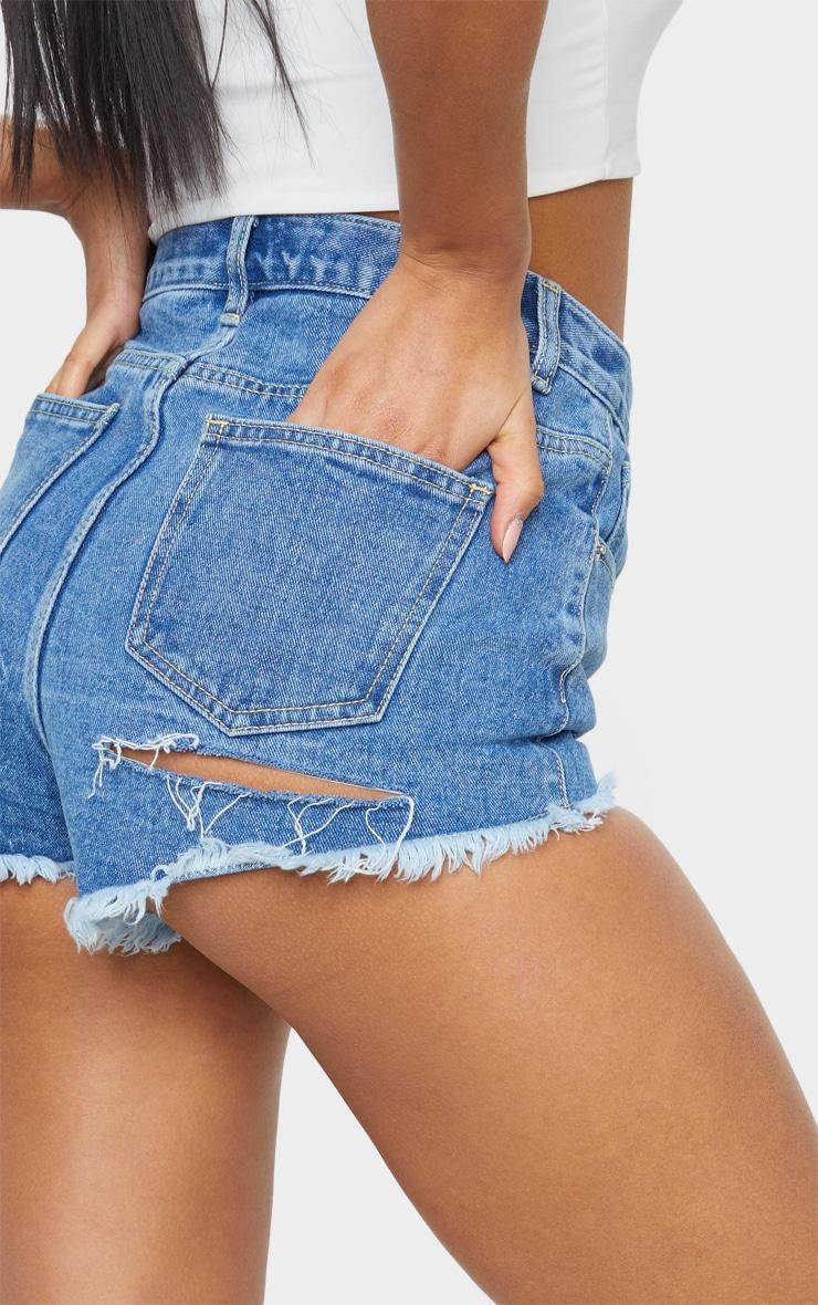 PRETTYLITTLETHING Mid Blue Wash Frayed Hem Bum Rip Denim Shorts 5