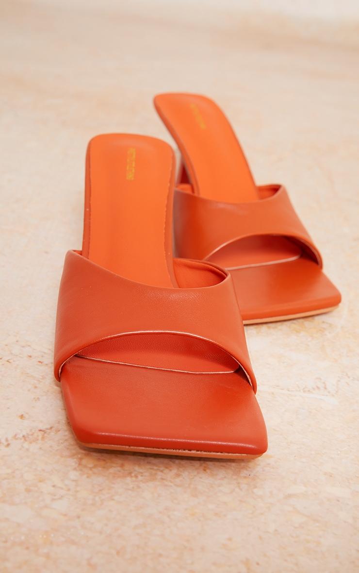 Orange Square Toe Low Heeled Mules 3