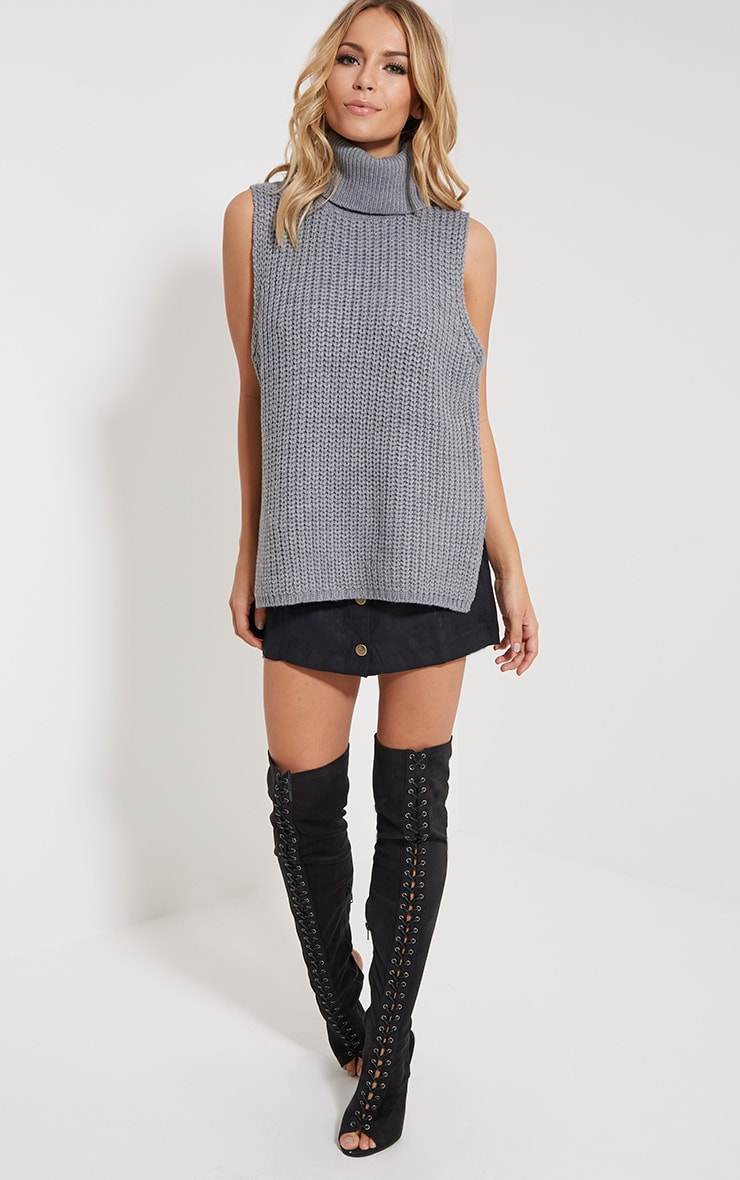Lolla Grey Knitted Roll Neck Top 3