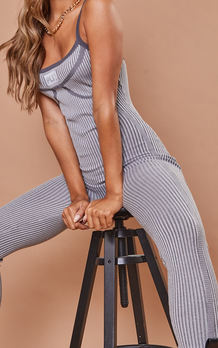 PRETTYLITTLETHING Charcoal Bust Detail Strappy Jumpsuit 4