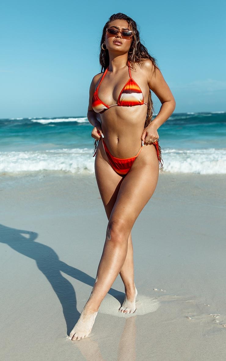 Orange Ombre Print Triangle Bikini Top 3