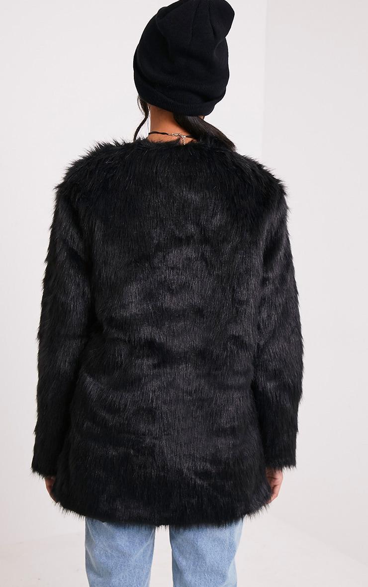 Florencia manteau en fausse fourrure noir 2