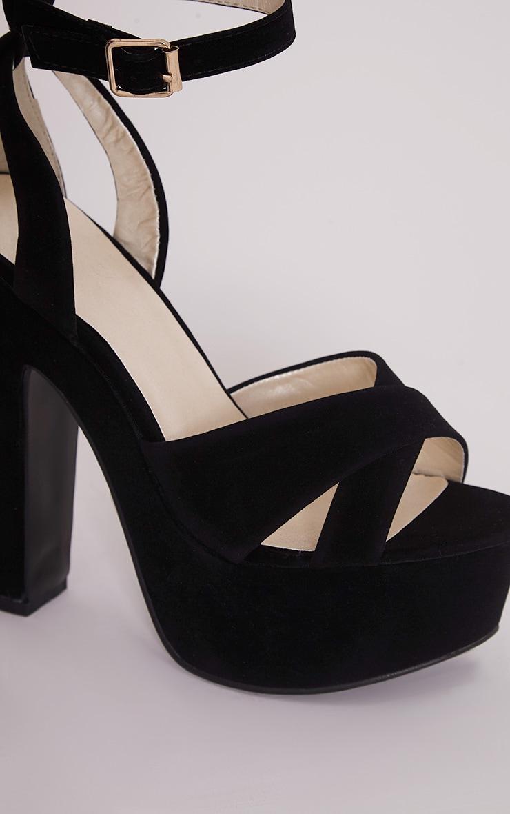 Leya Black Faux Suede Platform Sandals 5