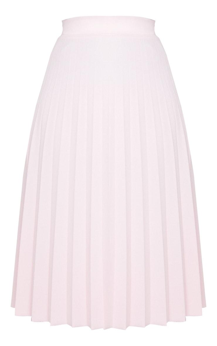Baby Pink Pleated Floaty Midi Skirt 5
