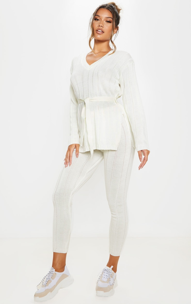 Cream Belted Longline Jumper And Legging Lounge Set 1