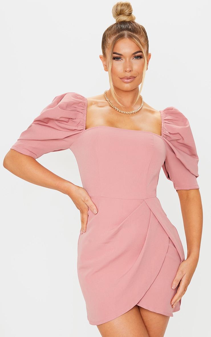 Dusty Pink Woven Puff Sleeve Wrap Bodycon Dress 1