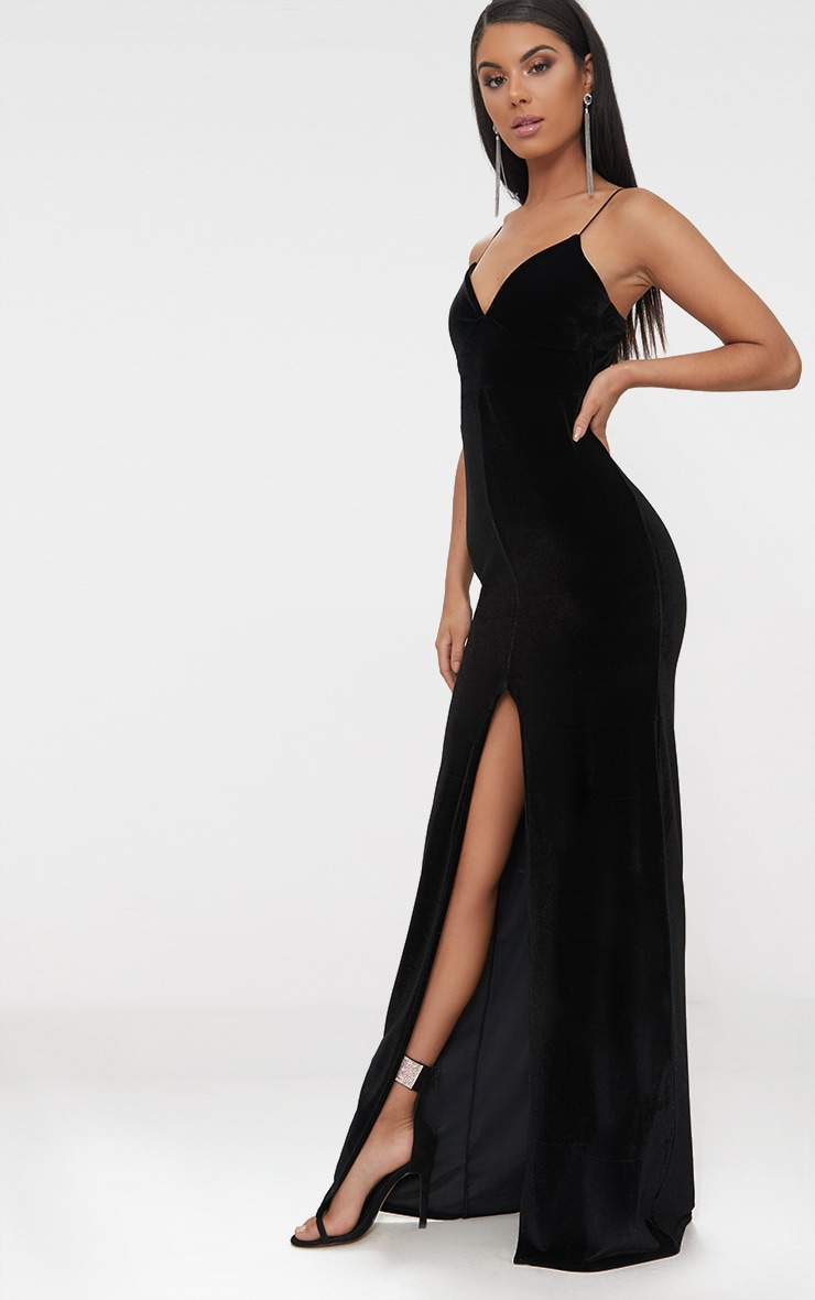 Black Velvet Plunge Strappy Split Detail Maxi Dress 4