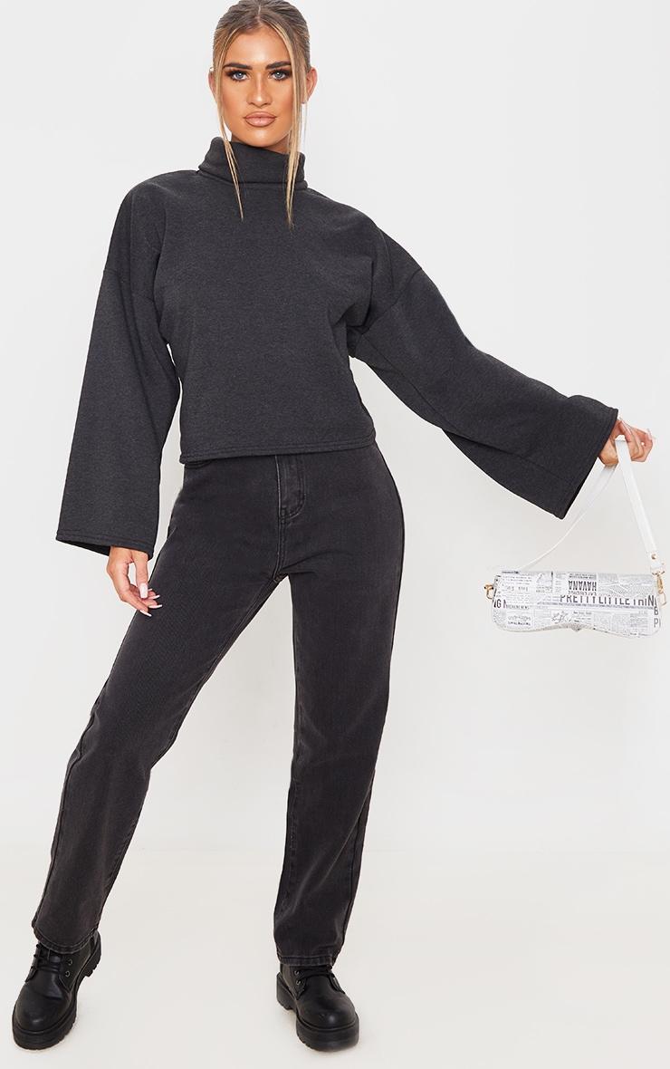 Charcoal Grey Fleece Roll Neck Sweater 4