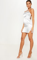 fe13dc8168 Silver Satin Oriental Lace Up Back Bodycon Dress image 4