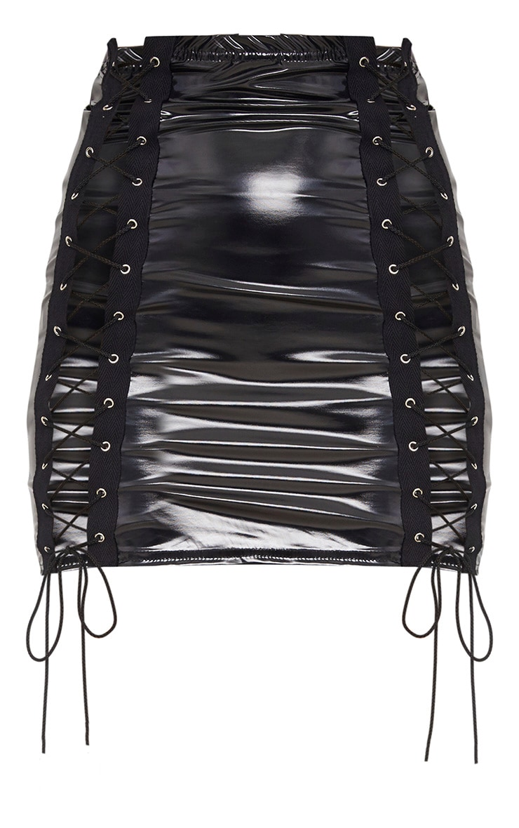 Black Vinyl Double Lace Up Mini Skirt 3