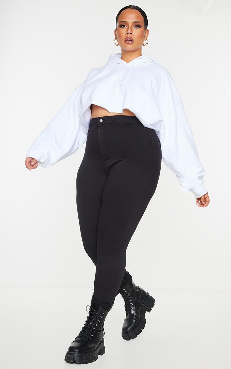 Plus PRETTYLITTLETHING Black Disco Skinny Jeans 1