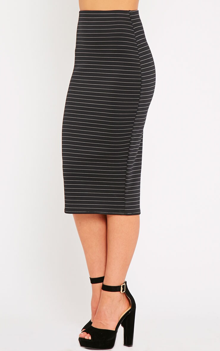 Liane Black Pinstripe Midi Skirt  3