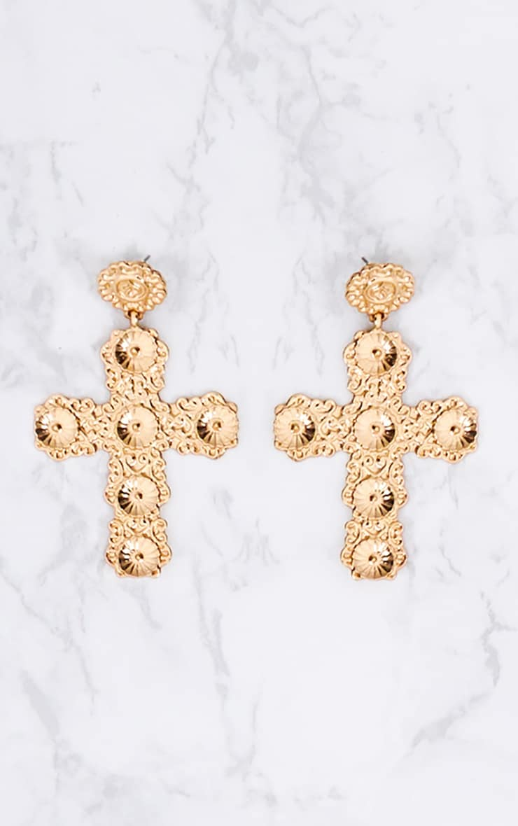 Korra Gold Ornate Cross Earrings 4