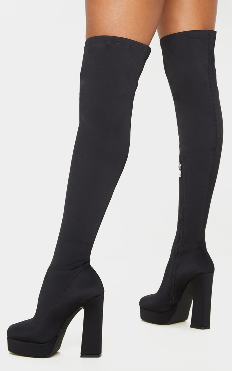 Black Thigh High Platform Boot 2