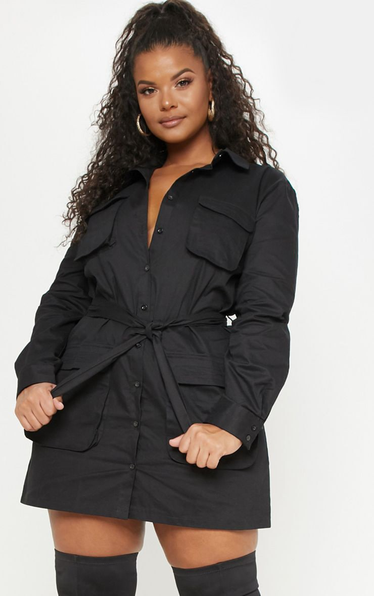 Plus Black Utility Shirt Dress