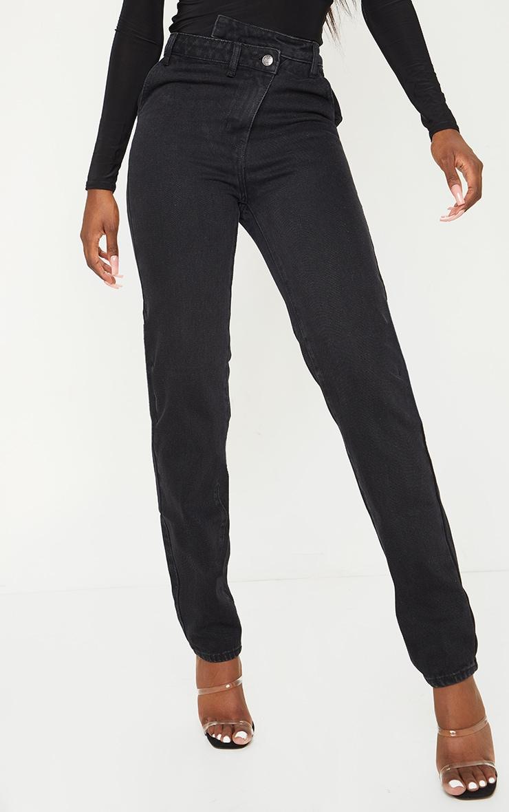 Tall - Jean noir profond à taille asymétrique 2
