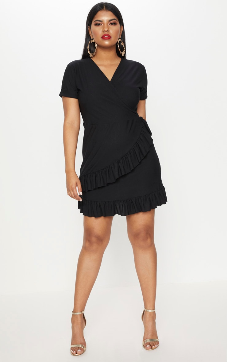 Plus Black Frill Detail Wrap Dress 4