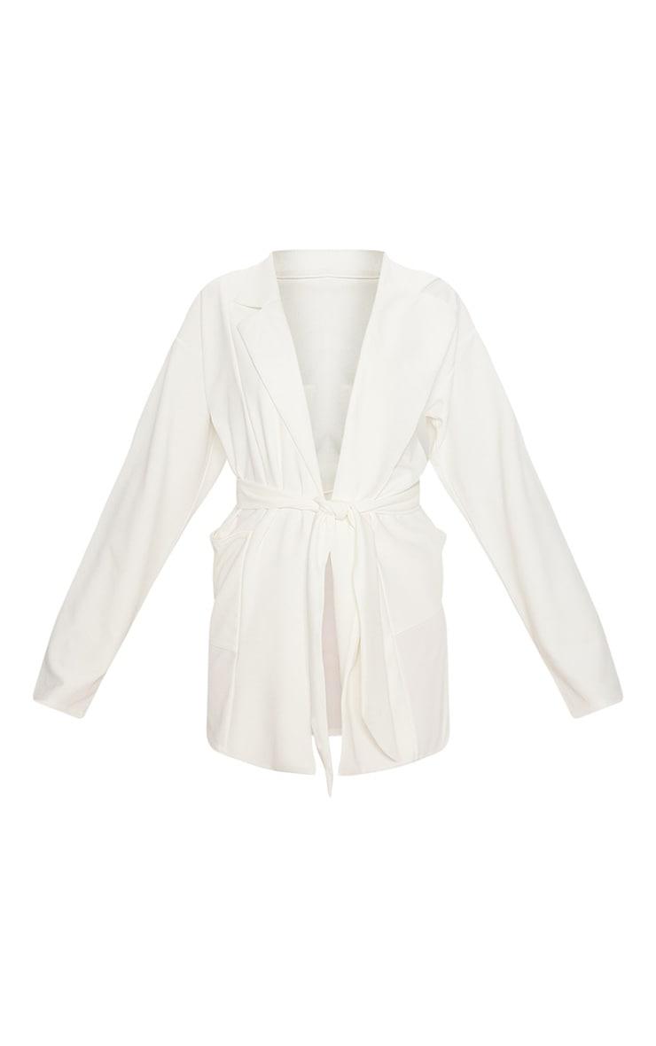 White Oversized Belted Blazer 3