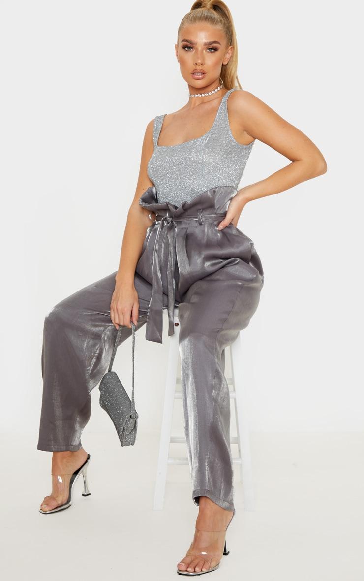 Silver Glitter Panelled Bodysuit 5