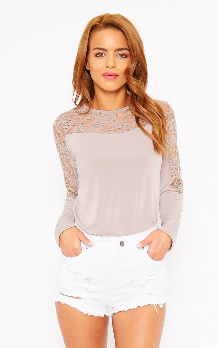 Loretta Mocha Long Sleeve Lace Panel Top 3