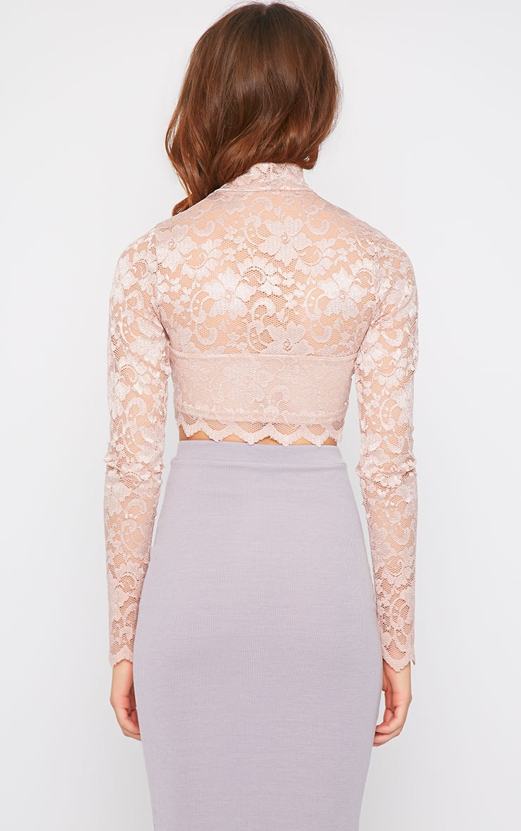 Rachel Pink Lace Turtle Neck Crop Top  4
