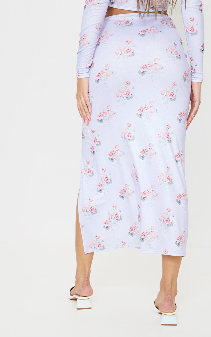 Lilac Floral Print Ruched Side Split Midi Skirt 3