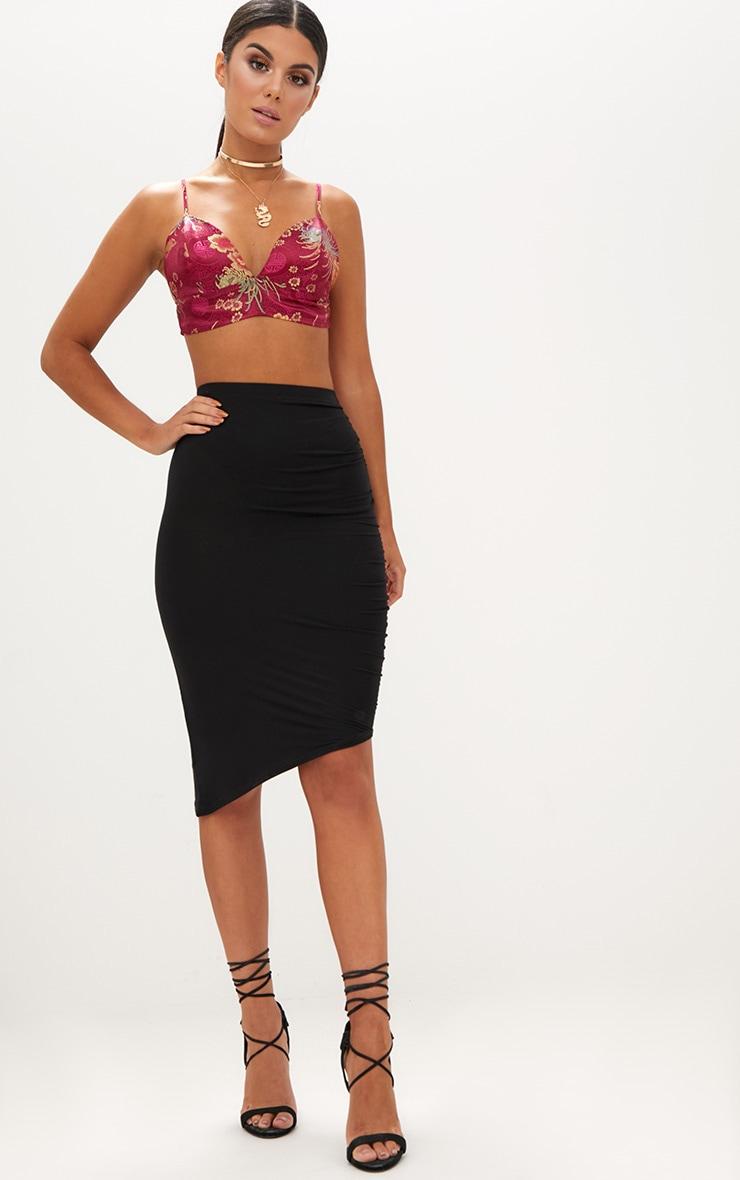 d70a5df12 Black Ruched Side Asymmetric Midi Skirt. Skirts | PrettyLittleThing USA