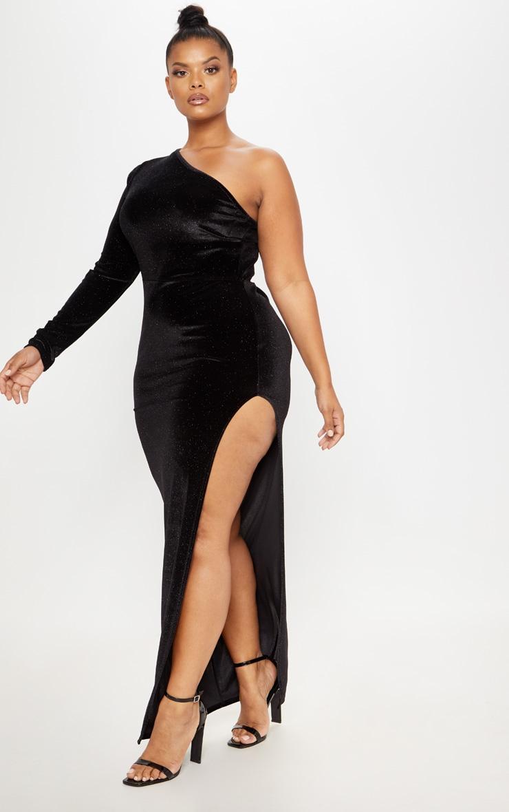 b14b66b4359 Plus Black One Shoulder Glitter Velvet Maxi Dress image 1
