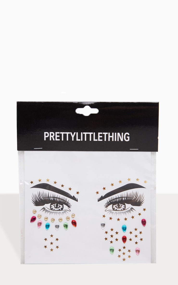 PRETTYLITTLETHING Rainbow Prism Festival Face Jewels 2