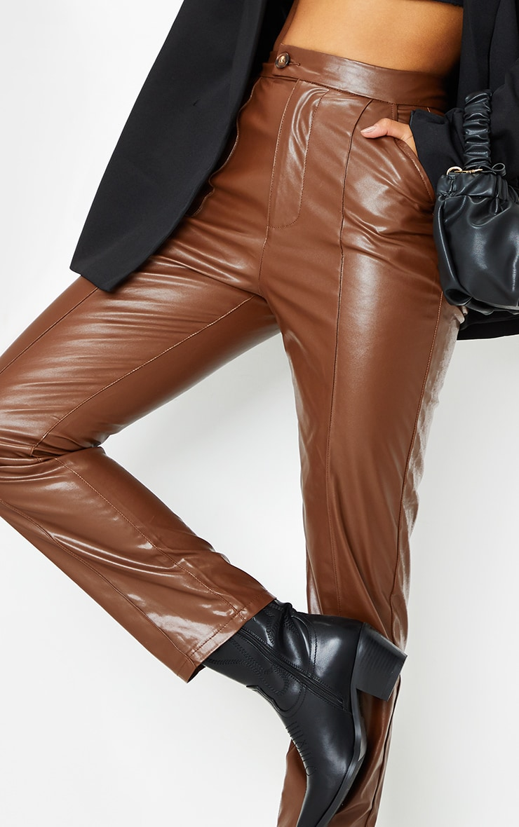 Chocolate Faux Leather Pintuck Detail Straight Leg Trousers 4