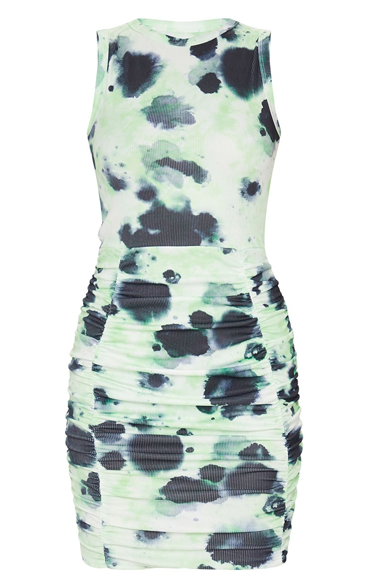 Lime Ribbed Tie Dye Sleeveless Ruched Bodycon Dress 5