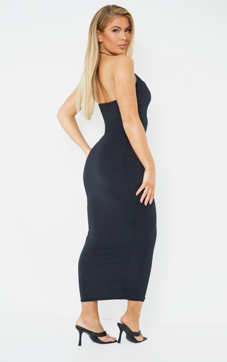 Black Slinky Halterneck Strap Midaxi Dress 2