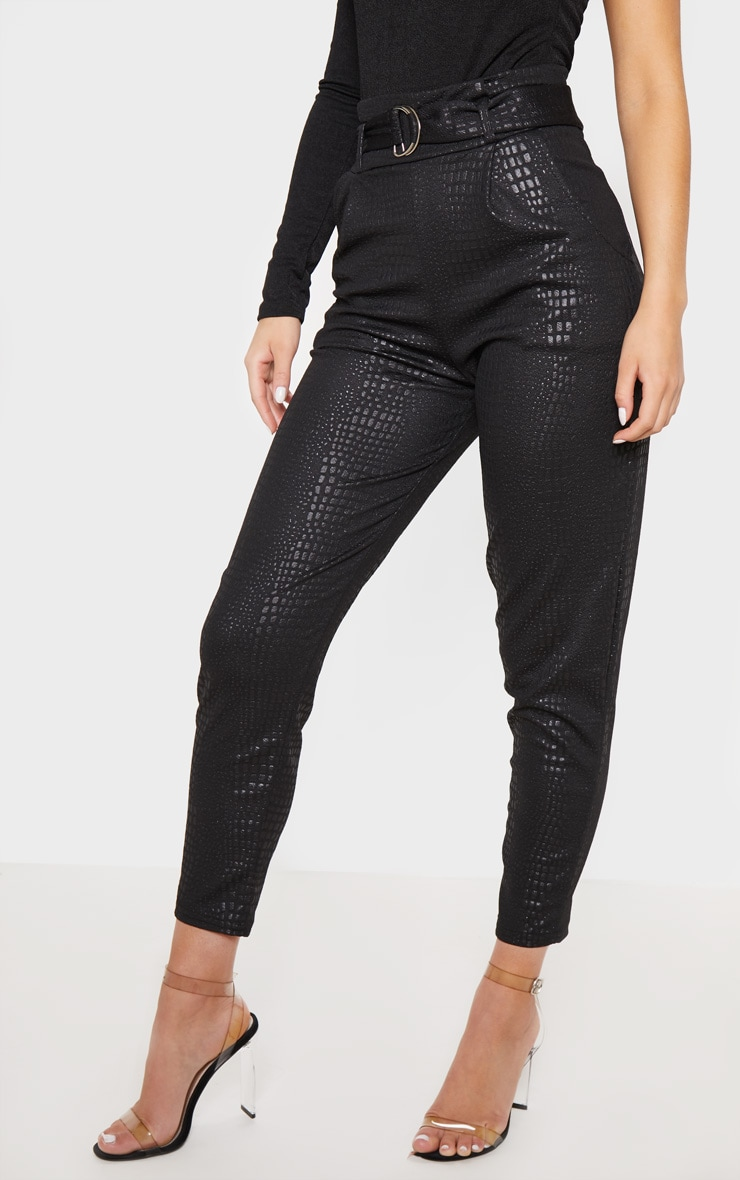 Black Croc Print D Ring Belted Skinny Trousers 2