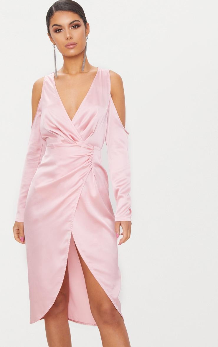Dusty Pink Satin Cold Shoulder Plunge Wrap Detail Midi