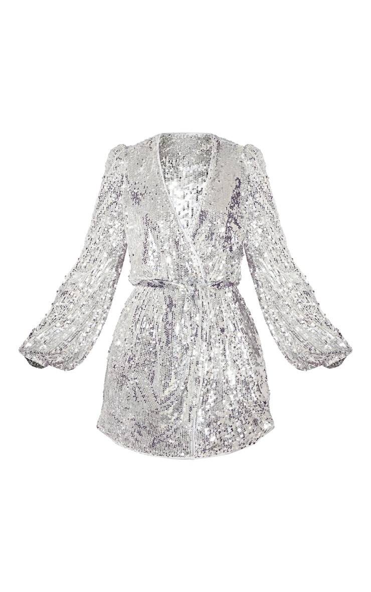 Silver Sequin Long Sleeve Tie Detail Shift Dress 3