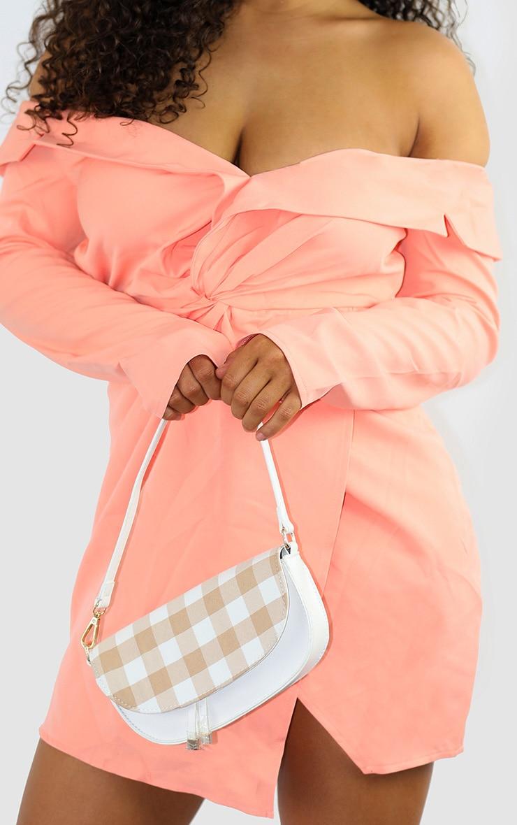 Peach Bardot Knot Detail Blazer Dress 4