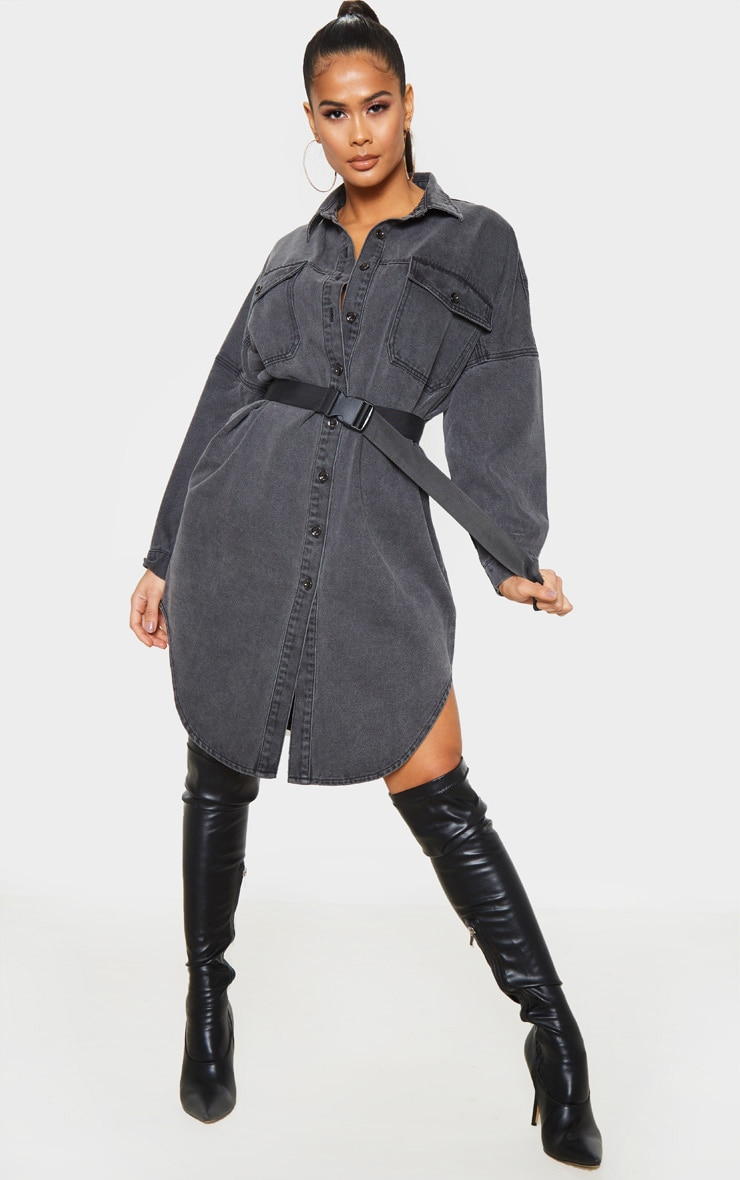 Washed Black Longline Oversized Denim Shirt 1
