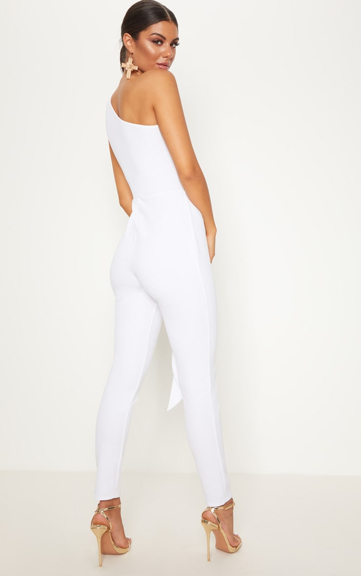White Crepe One Shoulder Tie Front Jumpsuit 2