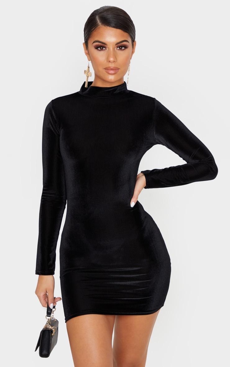 Print black velvet long sleeve bodycon dress movie for work