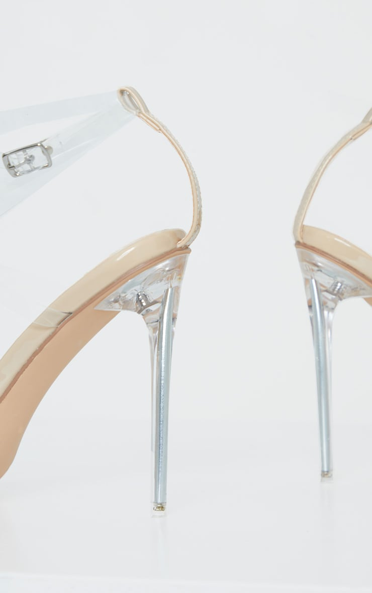 Nude Point Toe Clear Heel Clear Strap Sandal 4