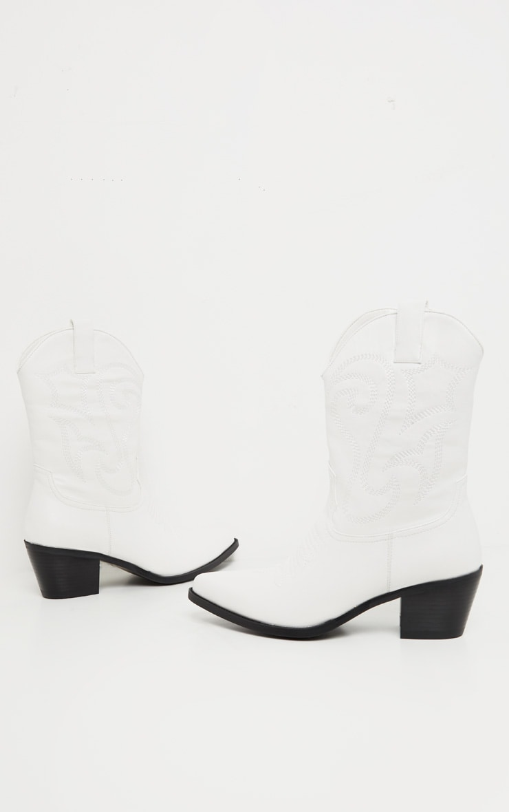 White Stitch Detail Western Calf Boot 3
