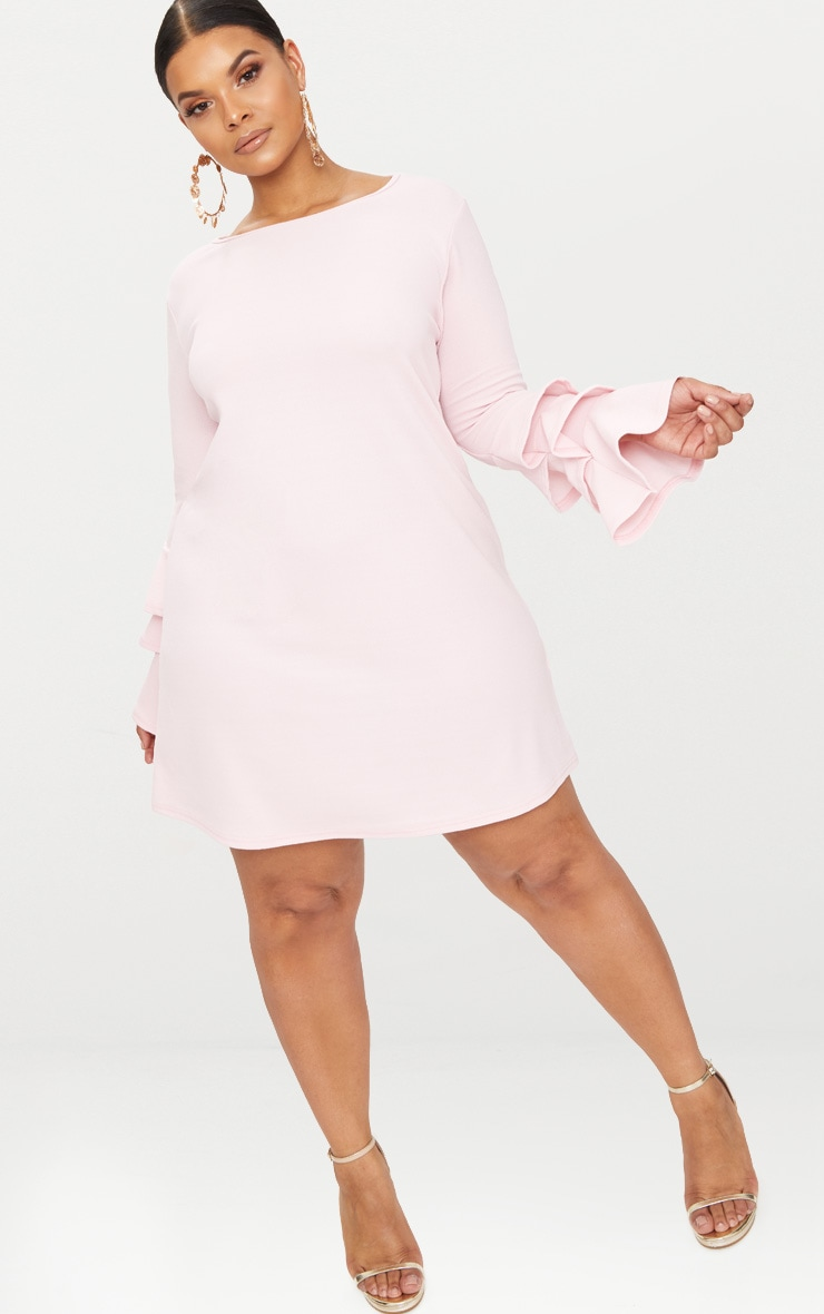 Plus Dusty Pink Frill Sleeve Shift Dress 4