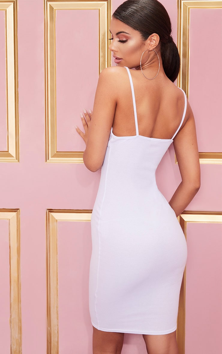 White Ribbed Plunge Midi Dress 2