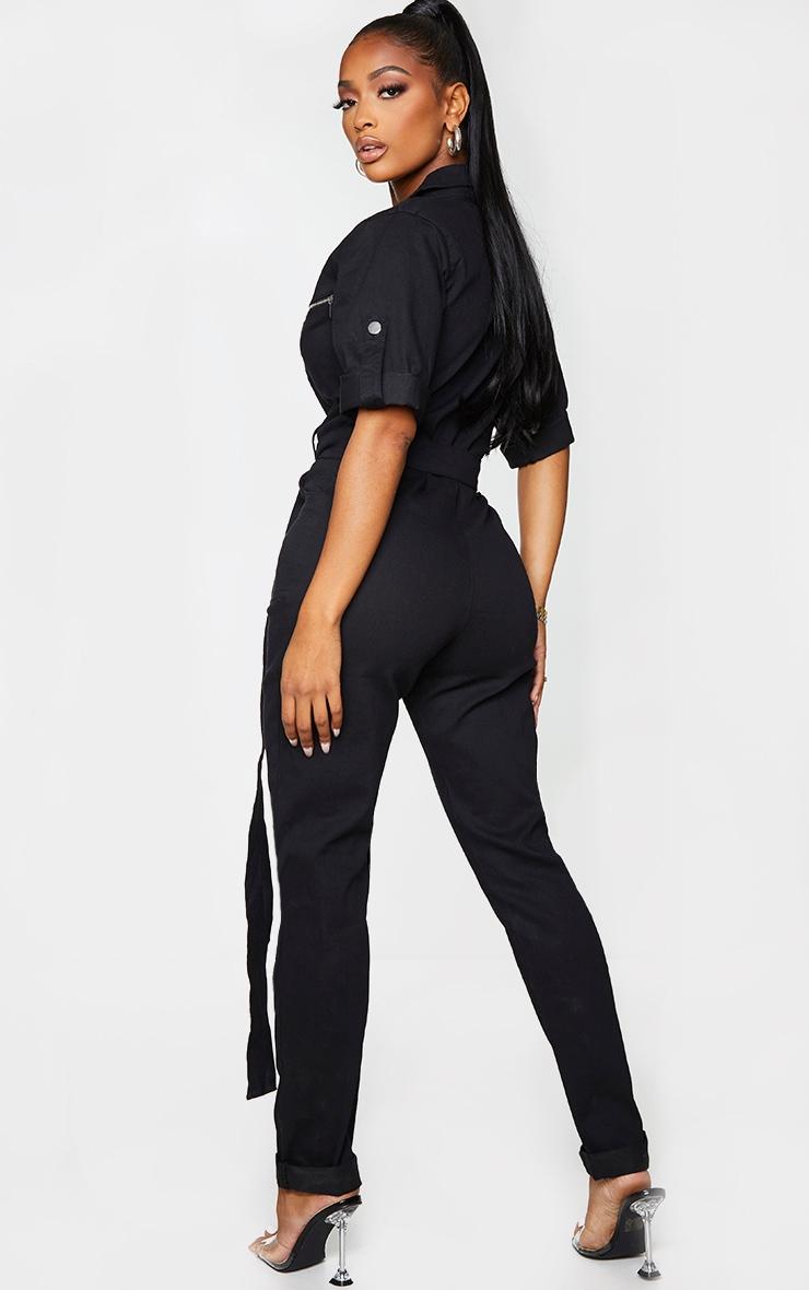 Shape Black Short Sleeve Zip Detail Denim Jumpsuit 3