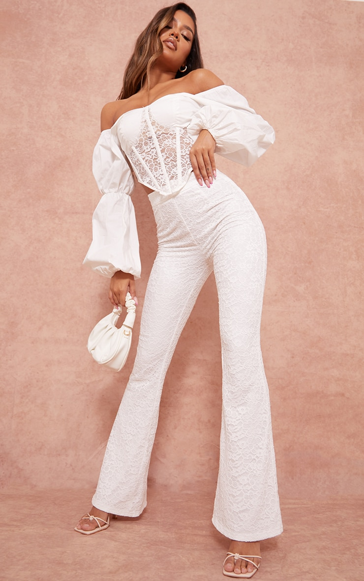 White Woven Lace High Waisted Flared Pants 1