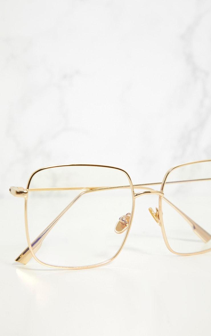 Gold Clear Lensed Square Metal Glasses 4