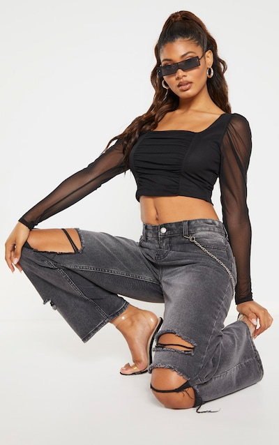 Tall Black Square Neck Mesh Ruched Long Sleeve Crop Top