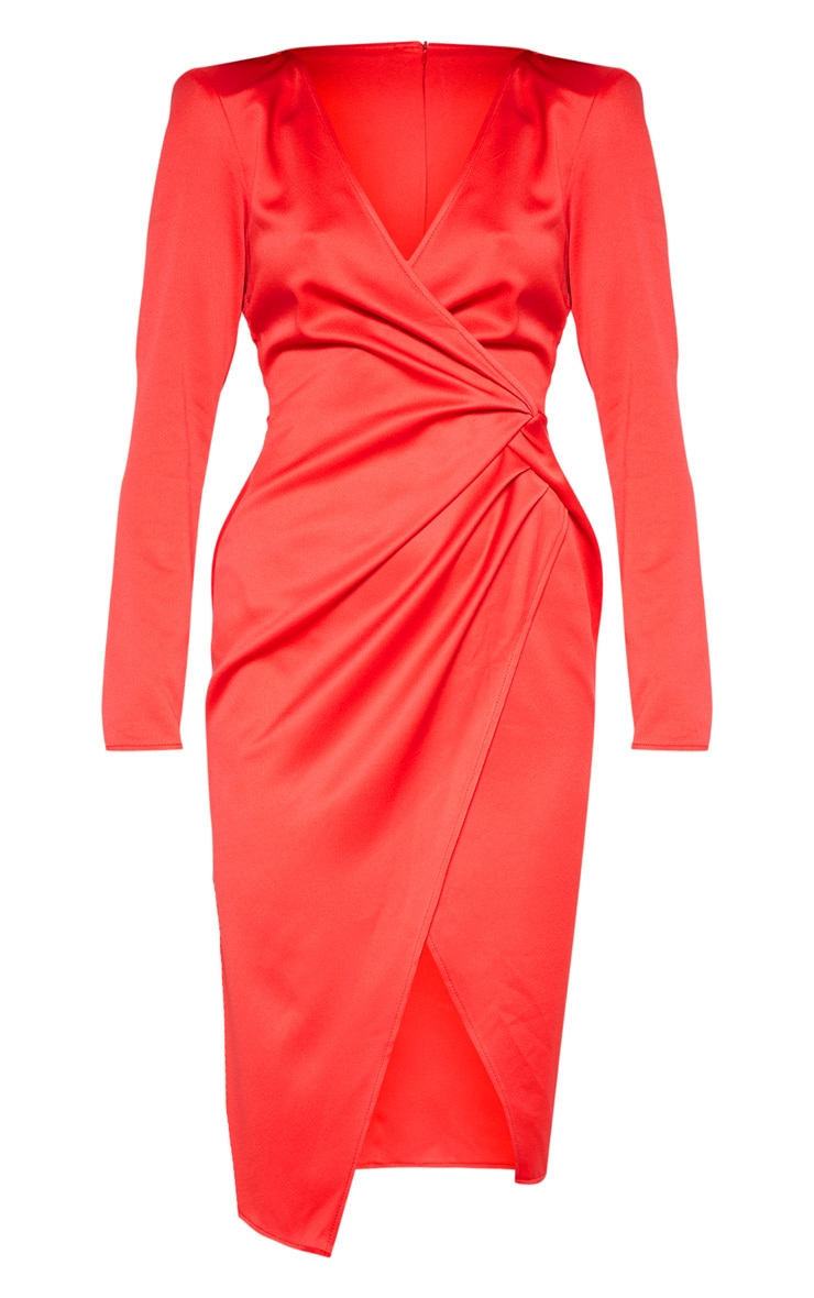 Red Drape Pleated Detail Midi Dress 4